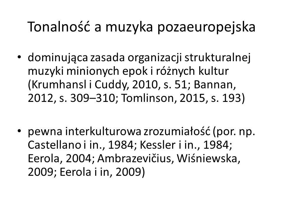 Tonalność a muzyka pozaeuropejska dominująca zasada organizacji strukturalnej muzyki minionych epok i różnych kultur (Krumhansl i Cuddy, 2010, s.