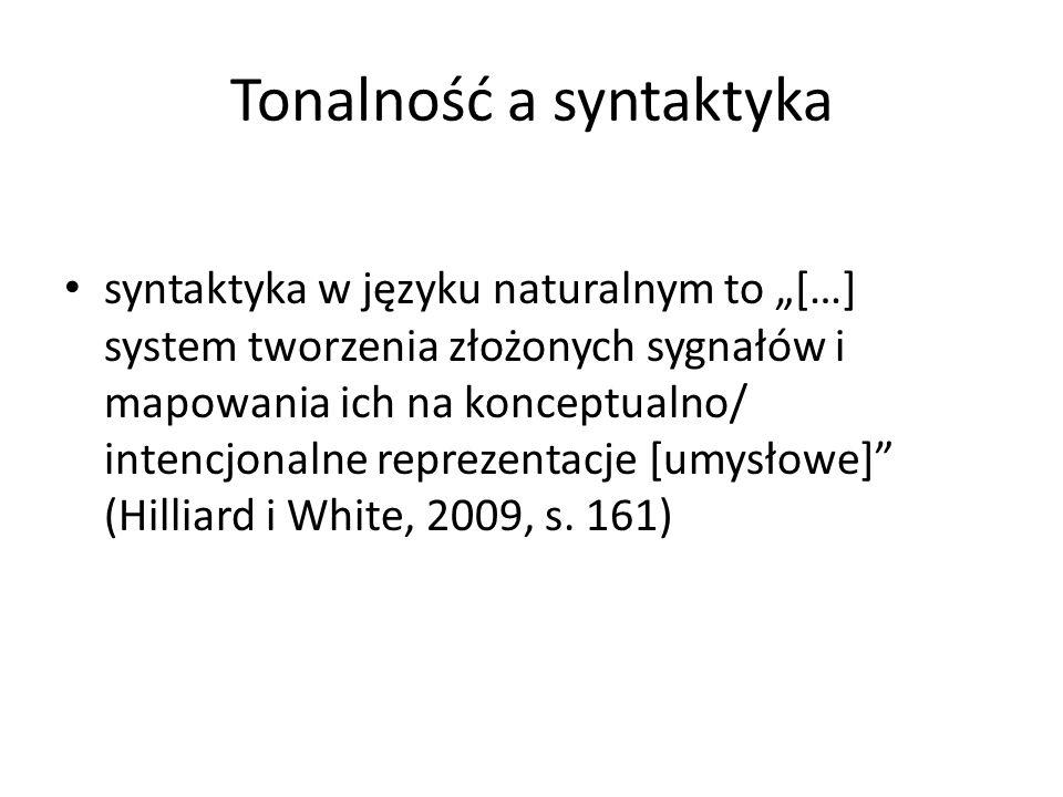 """Tonalność a syntaktyka syntaktyka w języku naturalnym to """"[…] system tworzenia złożonych sygnałów i mapowania ich na konceptualno/ intencjonalne reprezentacje [umysłowe] (Hilliard i White, 2009, s."""