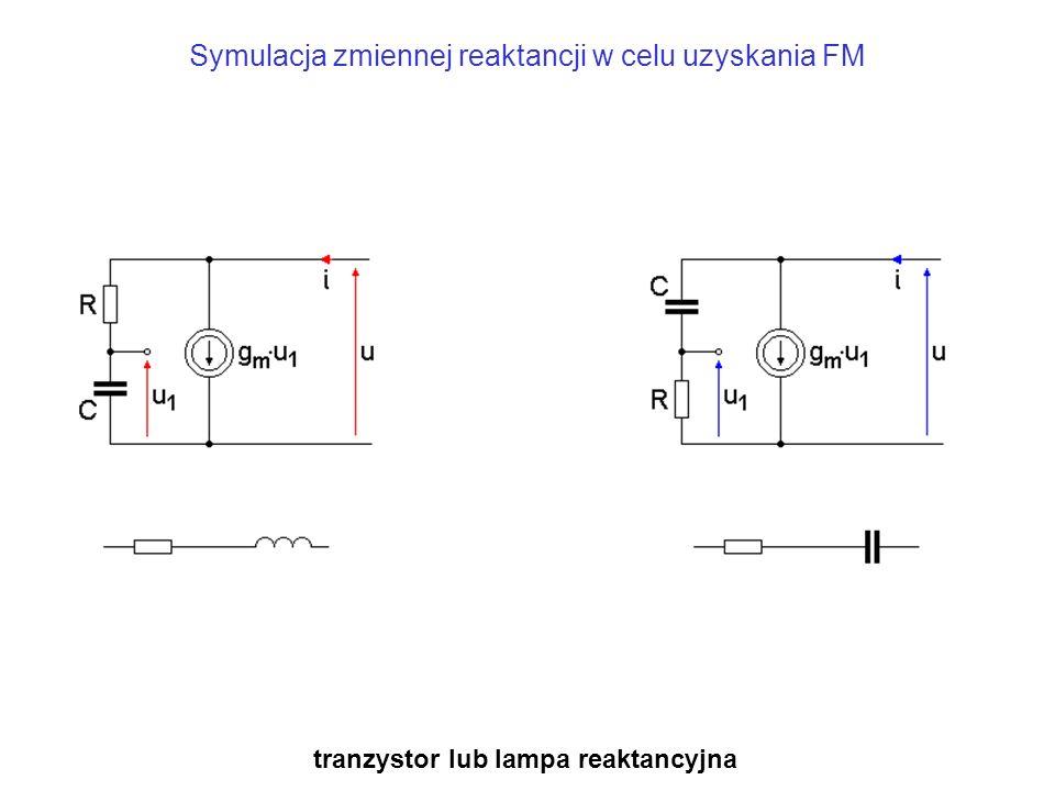Symulacja zmiennej reaktancji w celu uzyskania FM tranzystor lub lampa reaktancyjna