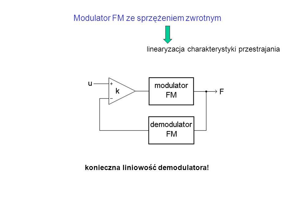 Modulator FM ze sprzężeniem zwrotnym konieczna liniowość demodulatora.