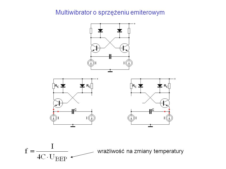 wrażliwość na zmiany temperatury Multiwibrator o sprzężeniu emiterowym
