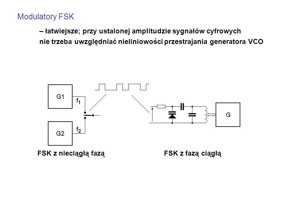 Modulatory FSK – łatwiejsze; przy ustalonej amplitudzie sygnałów cyfrowych nie trzeba uwzględniać nieliniowości przestrajania generatora VCO FSK z fazą ciągłąFSK z nieciągłą fazą