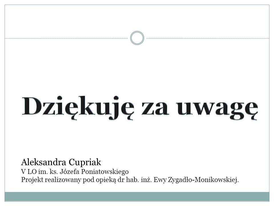 Aleksandra Cupriak V LO im. ks. Józefa Poniatowskiego Projekt realizowany pod opieką dr hab.