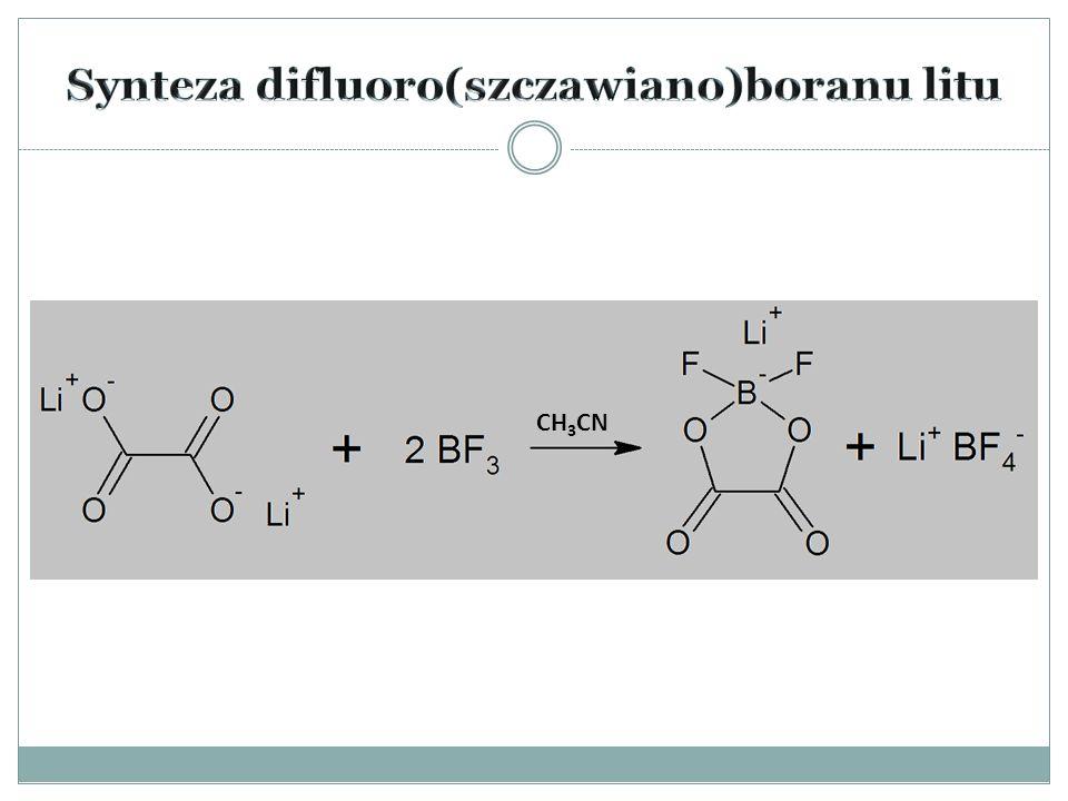  Atmosfera argonu (sole litowe nie mogą kontaktować się z powietrzem)  5 g szczawianu dilitu  5-krotny nadmiar molowy (31,07 ml) eteratu BF 3 – BF 3 (C 2 H 5 ) 2 O  Rozpuszczalnik – acetonitryl (10 ml)