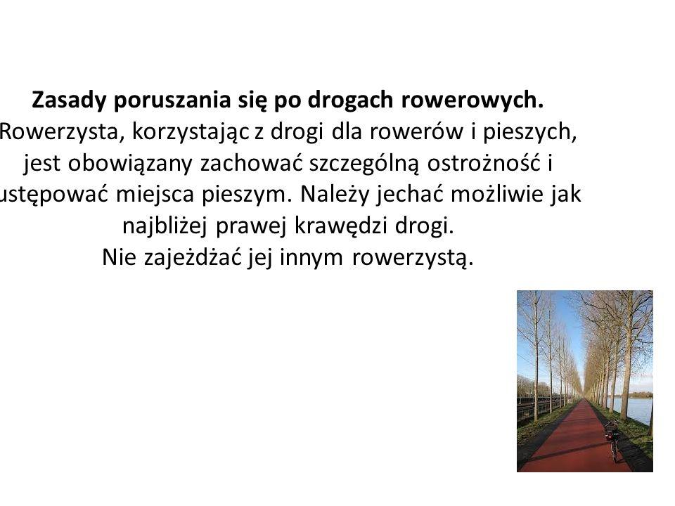 Zasady poruszania się po drogach rowerowych.
