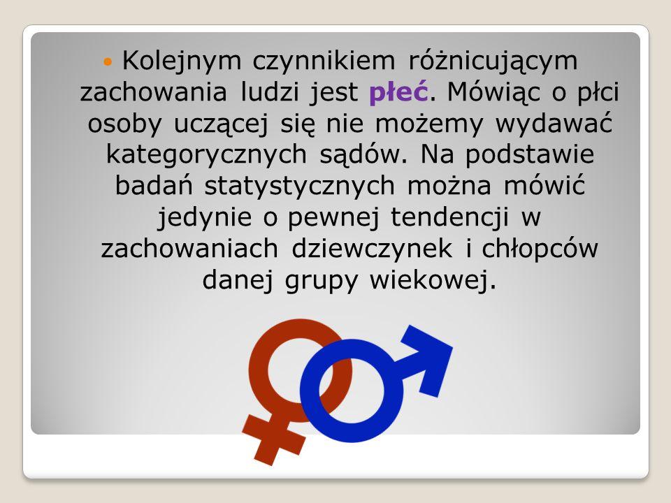 Kolejnym czynnikiem różnicującym zachowania ludzi jest płeć. Mówiąc o płci osoby uczącej się nie możemy wydawać kategorycznych sądów. Na podstawie bad