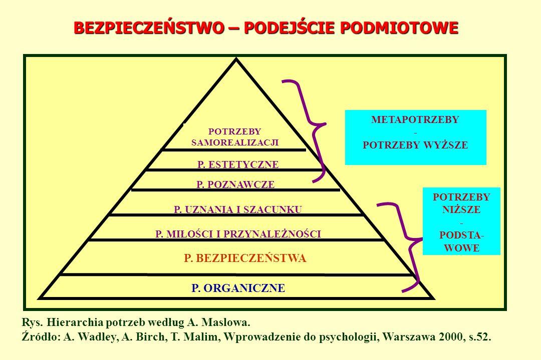 BEZPIECZEŃSTWO W UJĘCIU PODMIOTOWO - PRZEDMIOTOWYM SYSTEMY MIĘDZYNARODOWE – GLOBALNY ŚWIAT GRUPA SPOŁECZNA - NARÓD CZŁOWIEK BEZPIECZEŃSTWO : PSYCHOSPOŁECZNE EKONOMICZNE EKOLOGICZNE KULTUROWE POLITYCZNE MILITARNE INNE Rys.