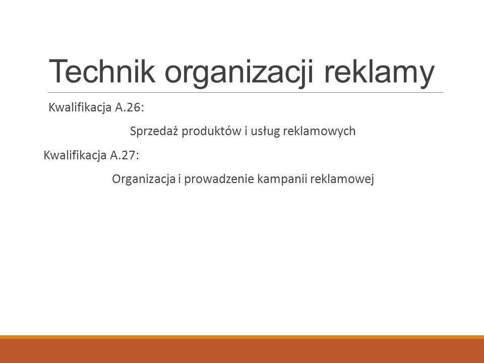 Technik organizacji reklamy Kwalifikacja A.26: Sprzedaż produktów i usług reklamowych Kwalifikacja A.27: Organizacja i prowadzenie kampanii reklamowej