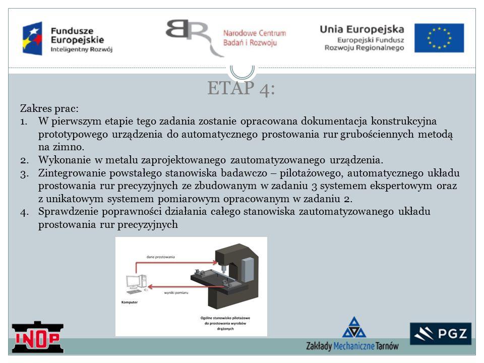 ETAP 4: Zakres prac: 1.W pierwszym etapie tego zadania zostanie opracowana dokumentacja konstrukcyjna prototypowego urządzenia do automatycznego prostowania rur grubościennych metodą na zimno.