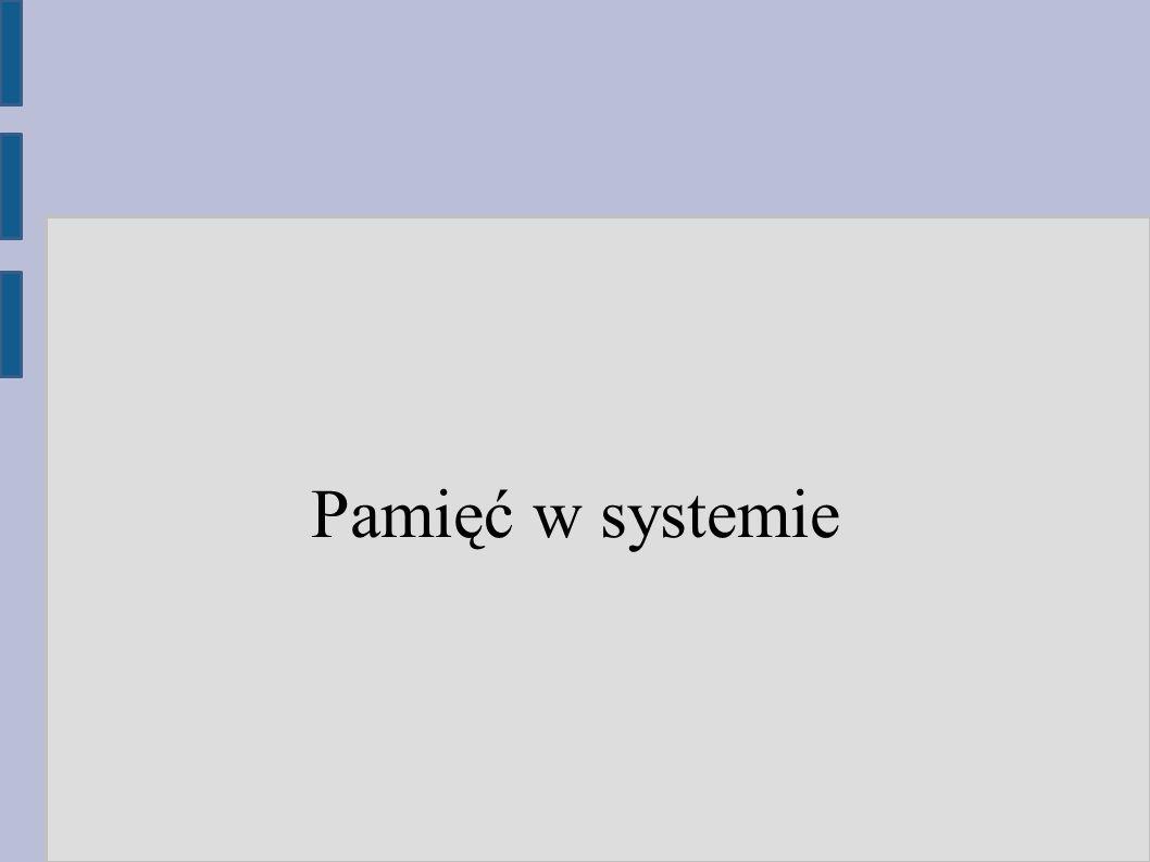 Podział pamięci w systemie operacyjnym ● Pamięć dla programów ● Pamięć podręczna dysku (cache) – do przyspieszania odczytu ● Bufory na zapisane dane – przyspieszają zapis poprzez opóźnienie go do momentu aż system będzie miał wolne zasoby ● Pamięć jądra – struktury jądra, które muszą być cały czas w pamięci (np.