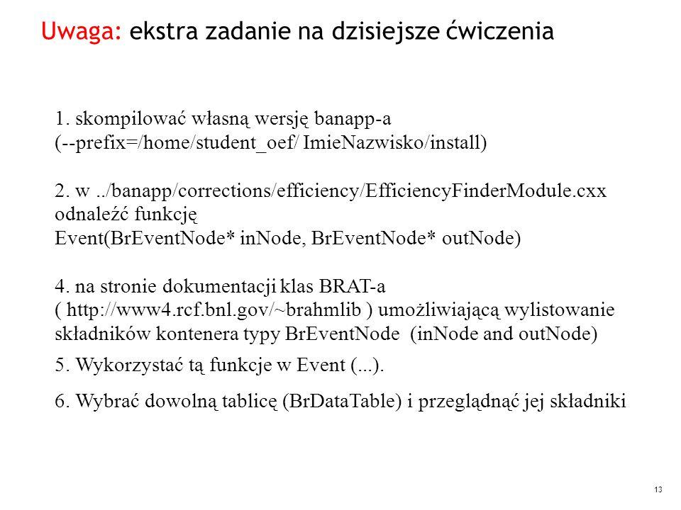13 Uwaga: ekstra zadanie na dzisiejsze ćwiczenia 1. skompilować własną wersję banapp-a (--prefix=/home/student_oef/ ImieNazwisko/install) 2. w../banap
