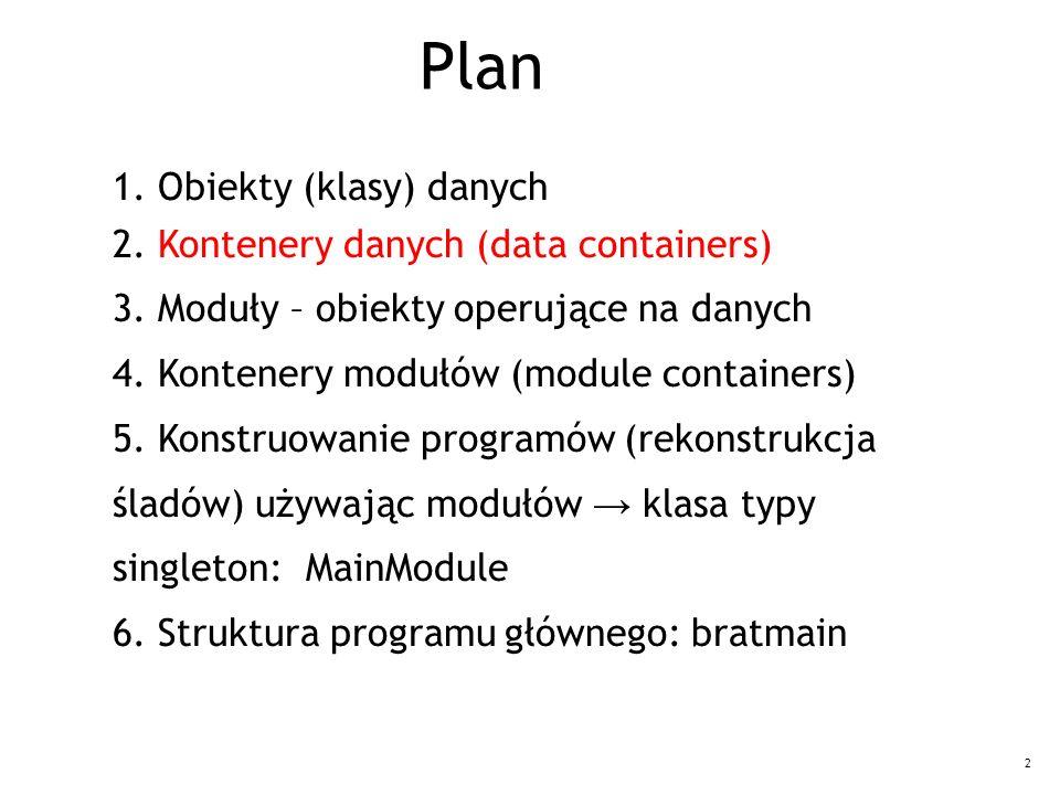 2 1. Obiekty (klasy) danych 2. Kontenery danych (data containers) 3. Moduły – obiekty operujące na danych 4. Kontenery modułów (module containers) 5.