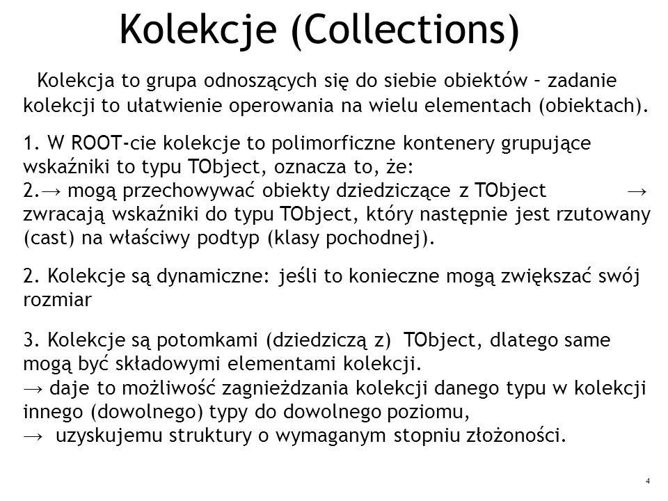 4 Kolekcje (Collections) Kolekcja to grupa odnoszących się do siebie obiektów – zadanie kolekcji to ułatwienie operowania na wielu elementach (obiekta
