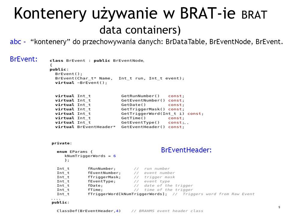 """9 Kontenery używanie w BRAT-ie BRAT data containers) abc – """"kontenery"""" do przechowywania danych: BrDataTable, BrEventNode, BrEvent. BrEvent: BrEventHe"""