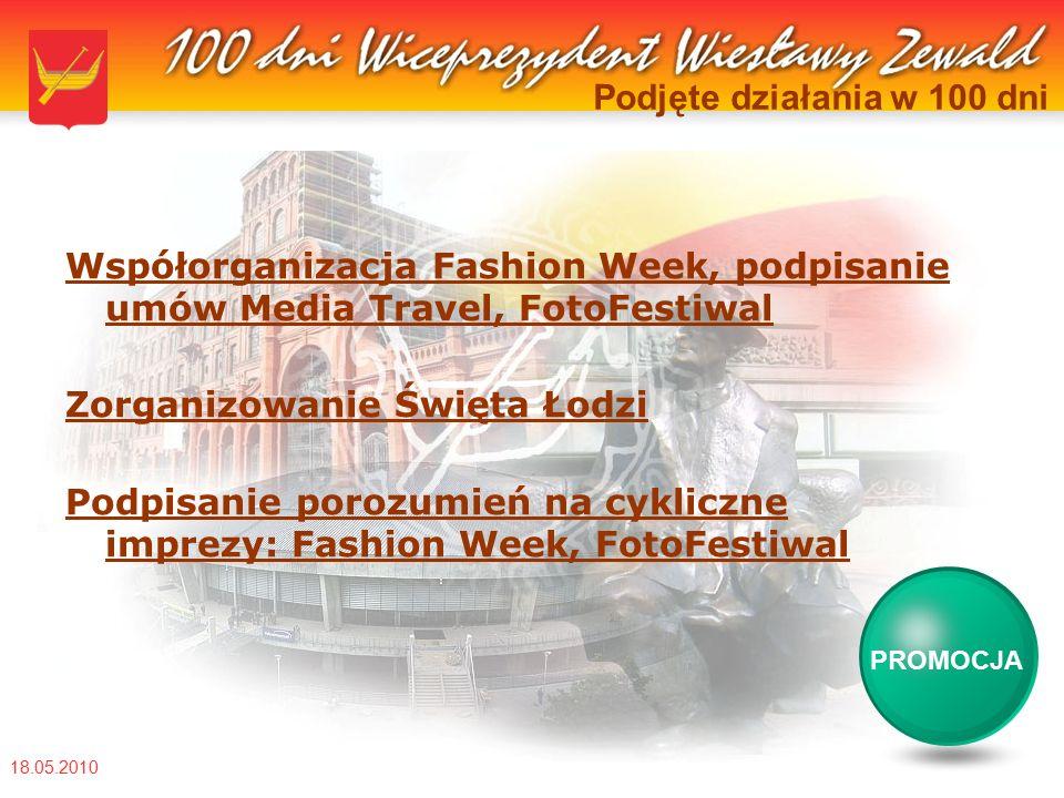 18.05.2010 Podjęte działania w 100 dni Współorganizacja Fashion Week, podpisanie umów Media Travel, FotoFestiwal Zorganizowanie Święta Łodzi Podpisanie porozumień na cykliczne imprezy: Fashion Week, FotoFestiwal PROMOCJA
