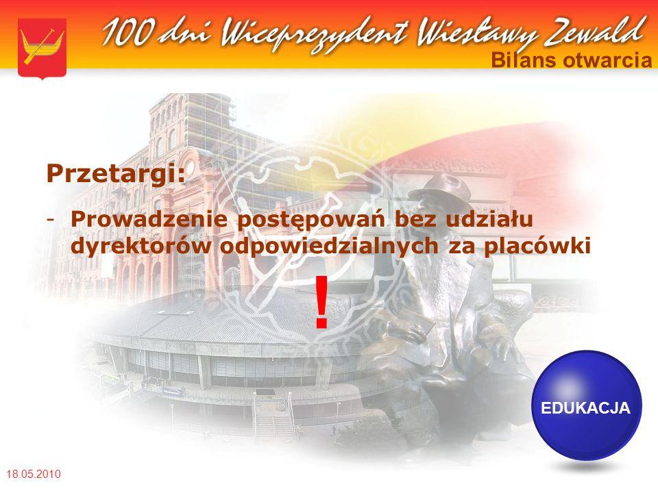18.05.2010 Bilans otwarcia Przetargi: -Prowadzenie postępowań bez udziału dyrektorów odpowiedzialnych za placówki EDUKACJA !