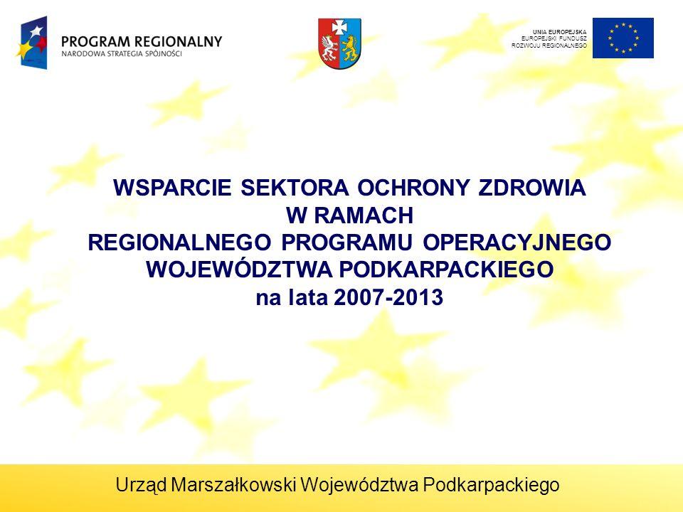 UNIA EUROPEJSKA EUROPEJSKI FUNDUSZ ROZWOJU REGIONALNEGO WSPARCIE SEKTORA OCHRONY ZDROWIA W RAMACH REGIONALNEGO PROGRAMU OPERACYJNEGO WOJEWÓDZTWA PODKARPACKIEGO na lata 2007-2013 Urząd Marszałkowski Województwa Podkarpackiego