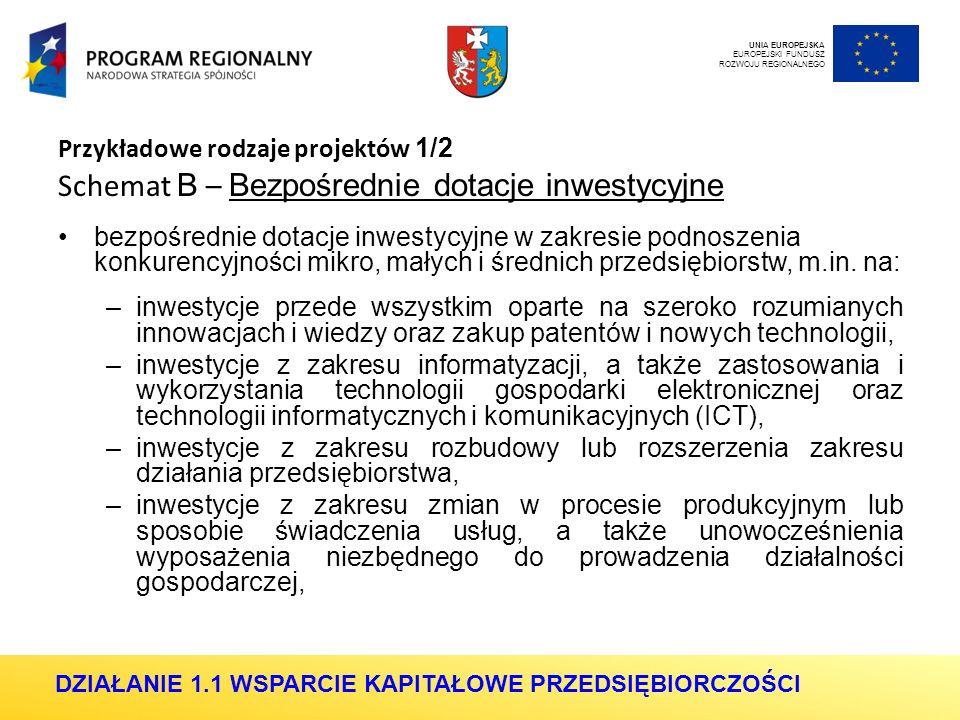 Przykładowe rodzaje projektów 1/2 Schemat B – Bezpośrednie dotacje inwestycyjne bezpośrednie dotacje inwestycyjne w zakresie podnoszenia konkurencyjności mikro, małych i średnich przedsiębiorstw, m.in.