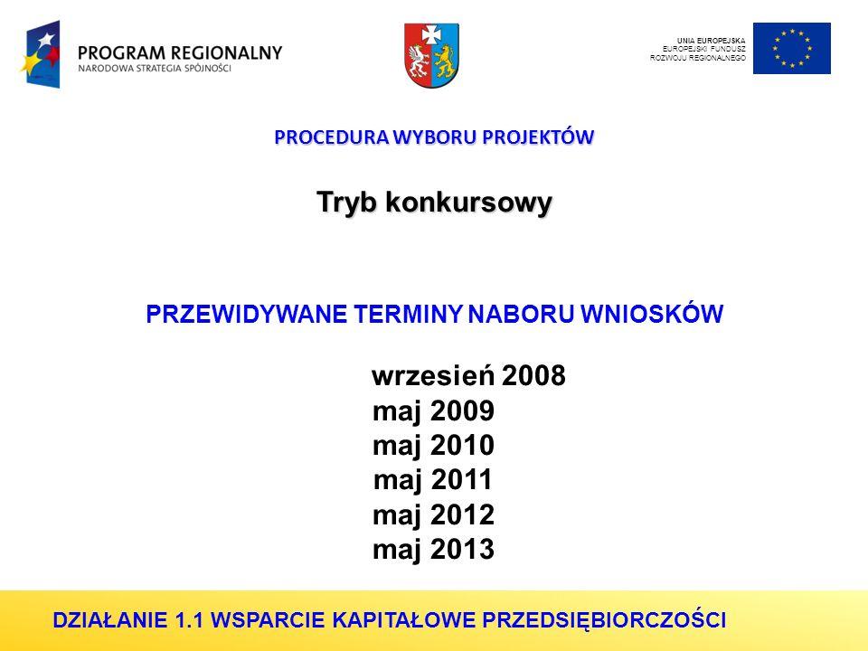 PROCEDURA WYBORU PROJEKTÓW Tryb konkursowy PRZEWIDYWANE TERMINY NABORU WNIOSKÓW wrzesień 2008 maj 2009 maj 2010 maj 2011 maj 2012 maj 2013 UNIA EUROPEJSKA EUROPEJSKI FUNDUSZ ROZWOJU REGIONALNEGO DZIAŁANIE 1.1 WSPARCIE KAPITAŁOWE PRZEDSIĘBIORCZOŚCI