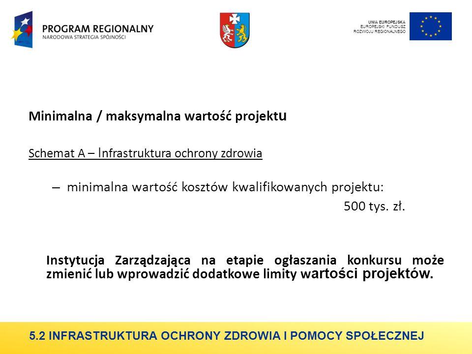 Minimalna / maksymalna wartość projekt u Schemat A – I nfrastruktura ochrony zdrowia – minimalna wartość kosztów kwalifikowanych projektu: 500 tys.