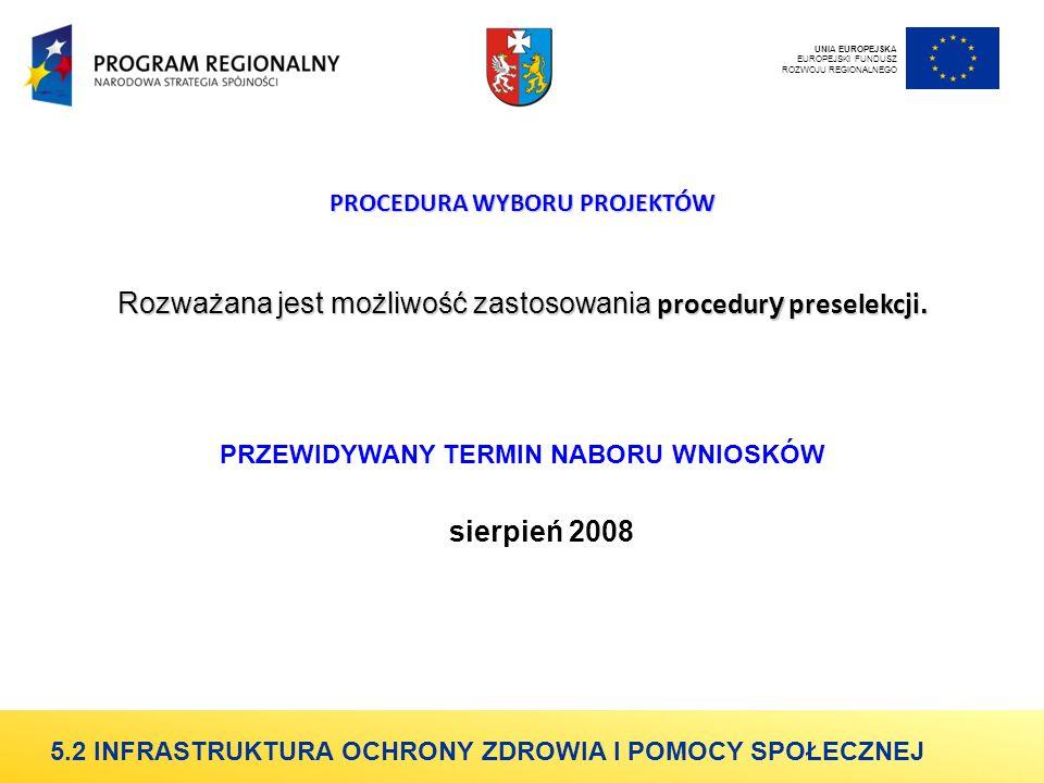 PROCEDURA WYBORU PROJEKTÓW Rozważana jest możliwość zastosowania procedur y preselekcji.