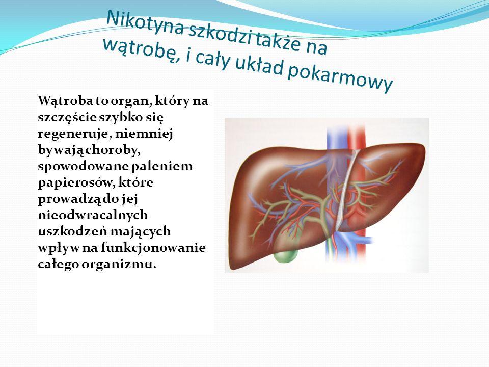 Nikotyna szkodzi także na wątrobę, i cały układ pokarmowy Wątroba to organ, który na szczęście szybko się regeneruje, niemniej bywają choroby, spowodowane paleniem papierosów, które prowadzą do jej nieodwracalnych uszkodzeń mających wpływ na funkcjonowanie całego organizmu.