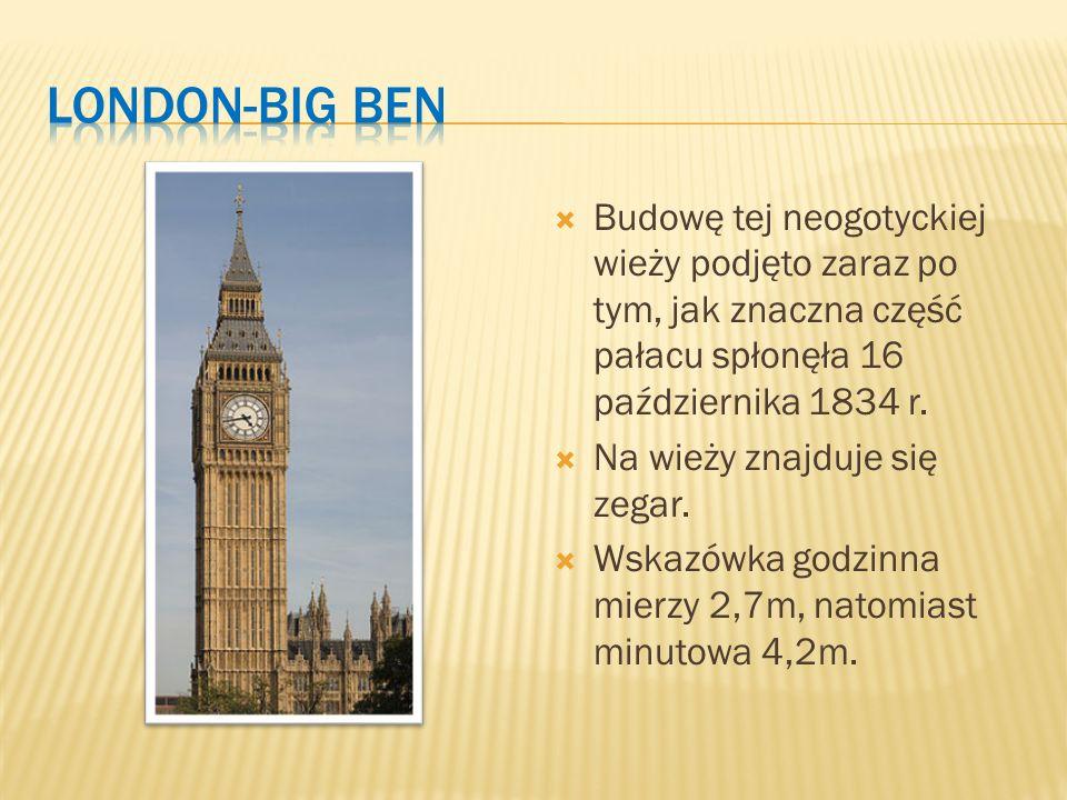  Budowę tej neogotyckiej wieży podjęto zaraz po tym, jak znaczna część pałacu spłonęła 16 października 1834 r.  Na wieży znajduje się zegar.  Wskaz