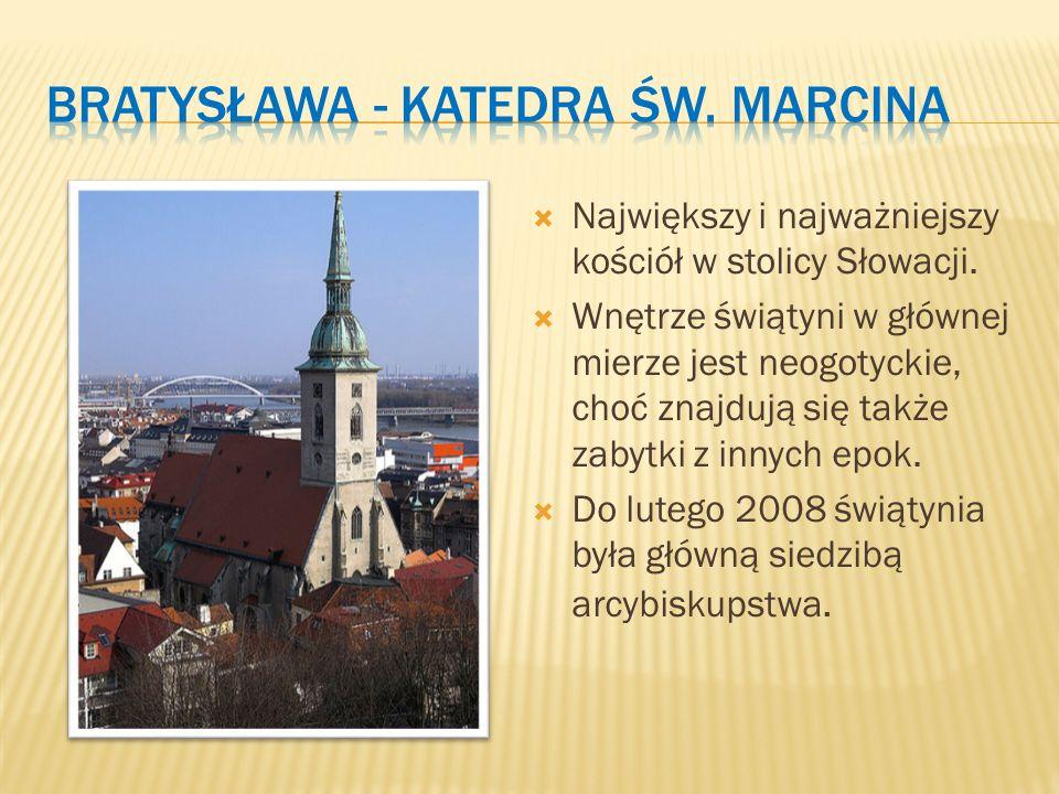  Największy i najważniejszy kościół w stolicy Słowacji.  Wnętrze świątyni w głównej mierze jest neogotyckie, choć znajdują się także zabytki z innyc