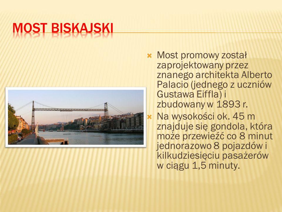  Most promowy został zaprojektowany przez znanego architekta Alberto Palacio (jednego z uczniów Gustawa Eiffla) i zbudowany w 1893 r.  Na wysokości
