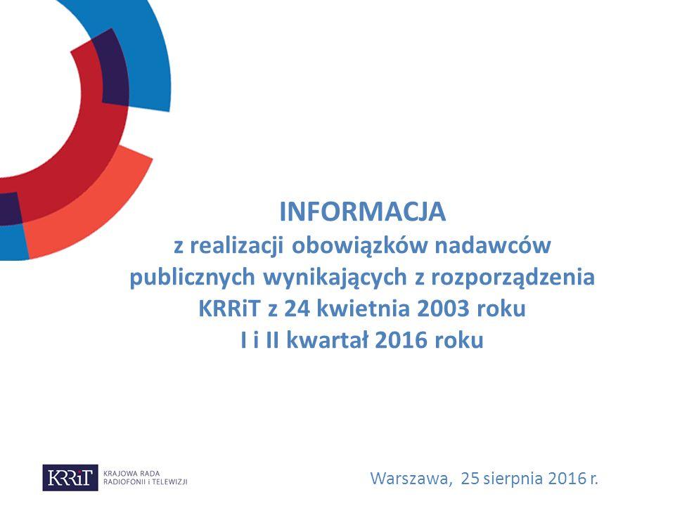INFORMACJA z realizacji obowiązków nadawców publicznych wynikających z rozporządzenia KRRiT z 24 kwietnia 2003 roku I i II kwartał 2016 roku Warszawa, 25 sierpnia 2016 r.