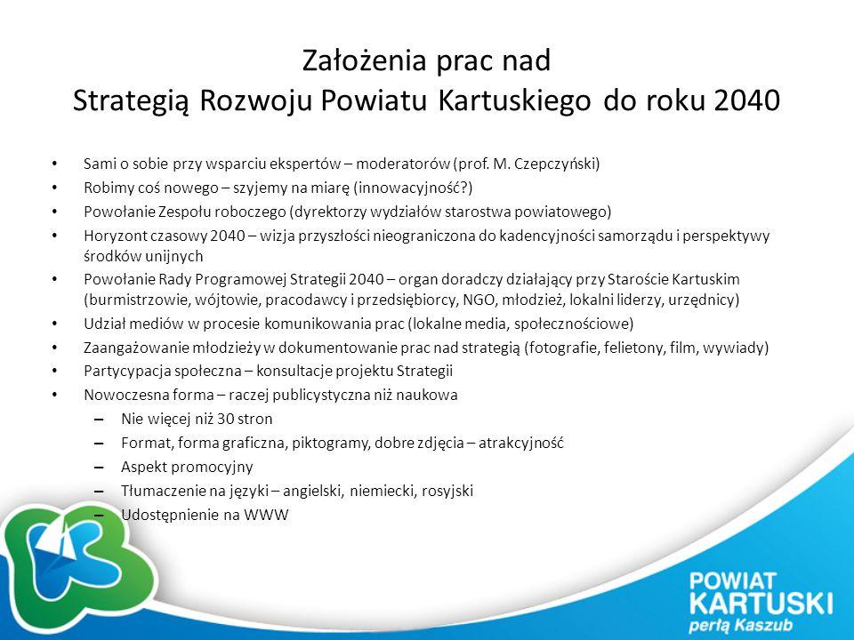 Założenia prac nad Strategią Rozwoju Powiatu Kartuskiego do roku 2040 Sami o sobie przy wsparciu ekspertów – moderatorów (prof.