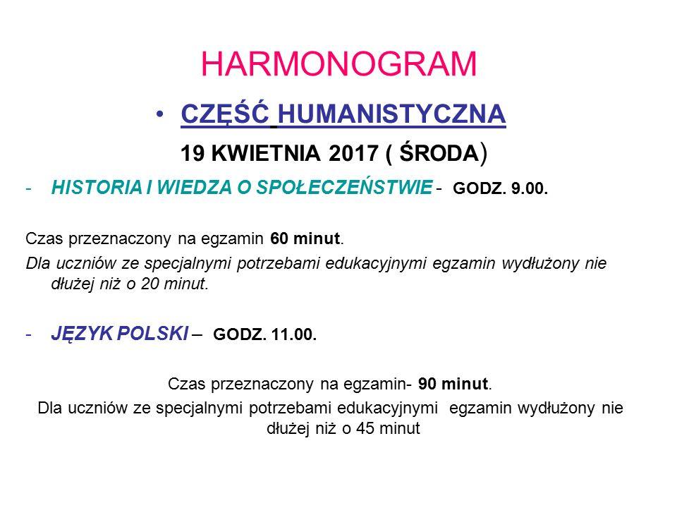 HARMONOGRAM CZĘŚĆ HUMANISTYCZNA 19 KWIETNIA 2017 ( ŚRODA ) -HISTORIA I WIEDZA O SPOŁECZEŃSTWIE - GODZ.