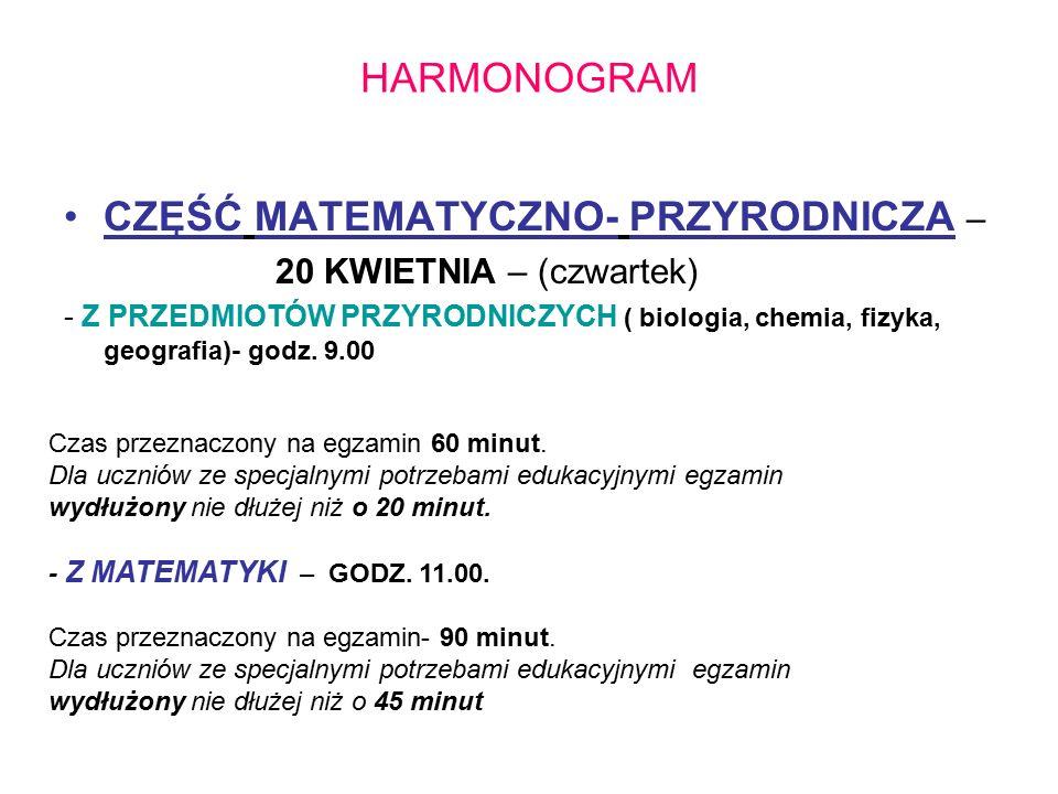 HARMONOGRAM CZĘŚĆ MATEMATYCZNO- PRZYRODNICZA – 20 KWIETNIA – (czwartek) - Z PRZEDMIOTÓW PRZYRODNICZYCH ( biologia, chemia, fizyka, geografia)- godz.