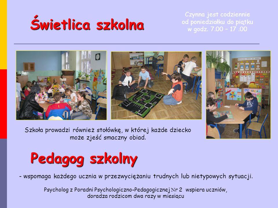 Świetlica szkolna Szkoła prowadzi również stołówkę, w której każde dziecko może zjeść smaczny obiad. Pedagog szkolny - wspomaga każdego ucznia w przez