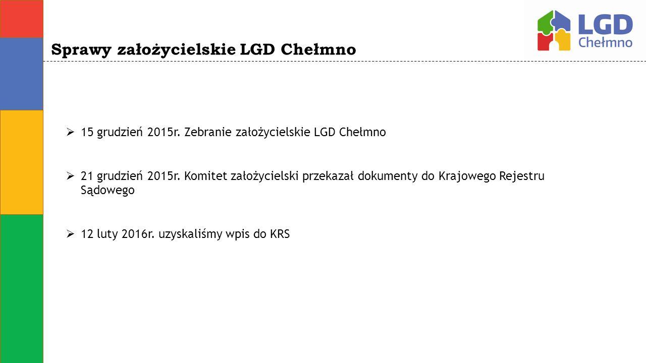 Sprawy założycielskie LGD Chełmno  15 grudzień 2015r. Zebranie założycielskie LGD Chełmno  21 grudzień 2015r. Komitet założycielski przekazał dokume
