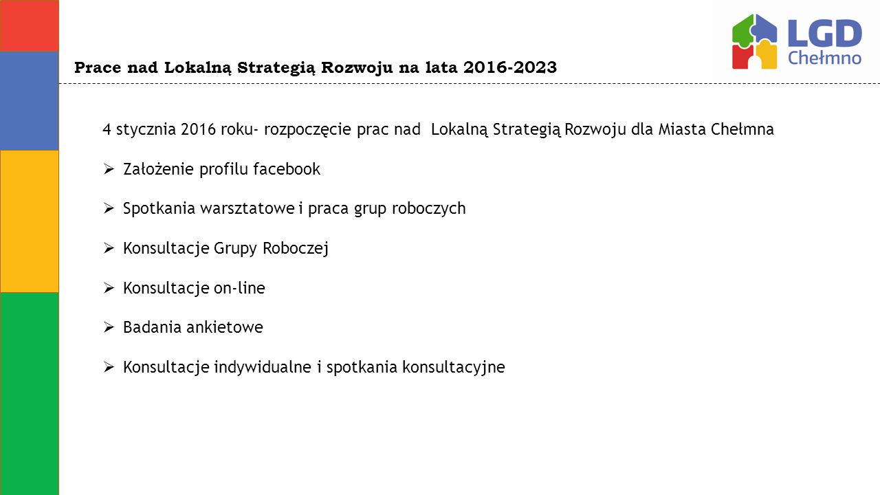 Prace nad Lokalną Strategią Rozwoju na lata 2016-2023 4 stycznia 2016 roku- rozpoczęcie prac nad Lokalną Strategią Rozwoju dla Miasta Chełmna  Założe