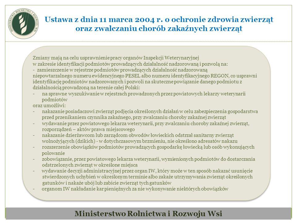 Ministerstwo Rolnictwa i Rozwoju Wsi Ustawa z dnia 11 marca 2004 r.