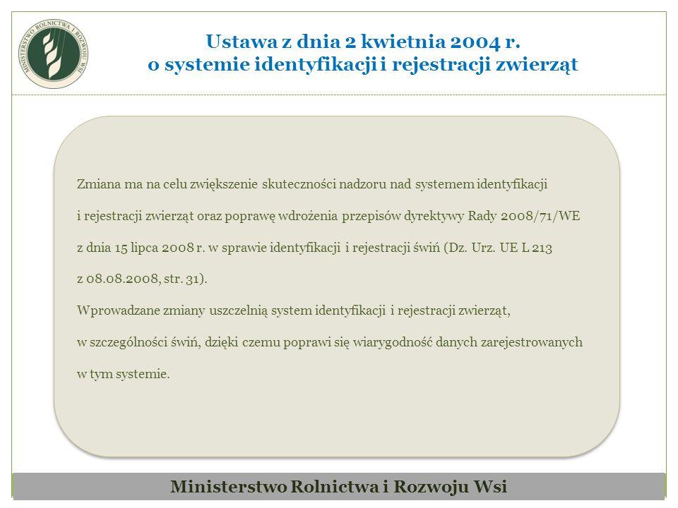 Zmiana ma na celu dostosowanie przepisów krajowych do obowiązujących przepisów UE (dyrektywa Rady 2002/99/WE z dnia 16 grudnia 2002 r.).