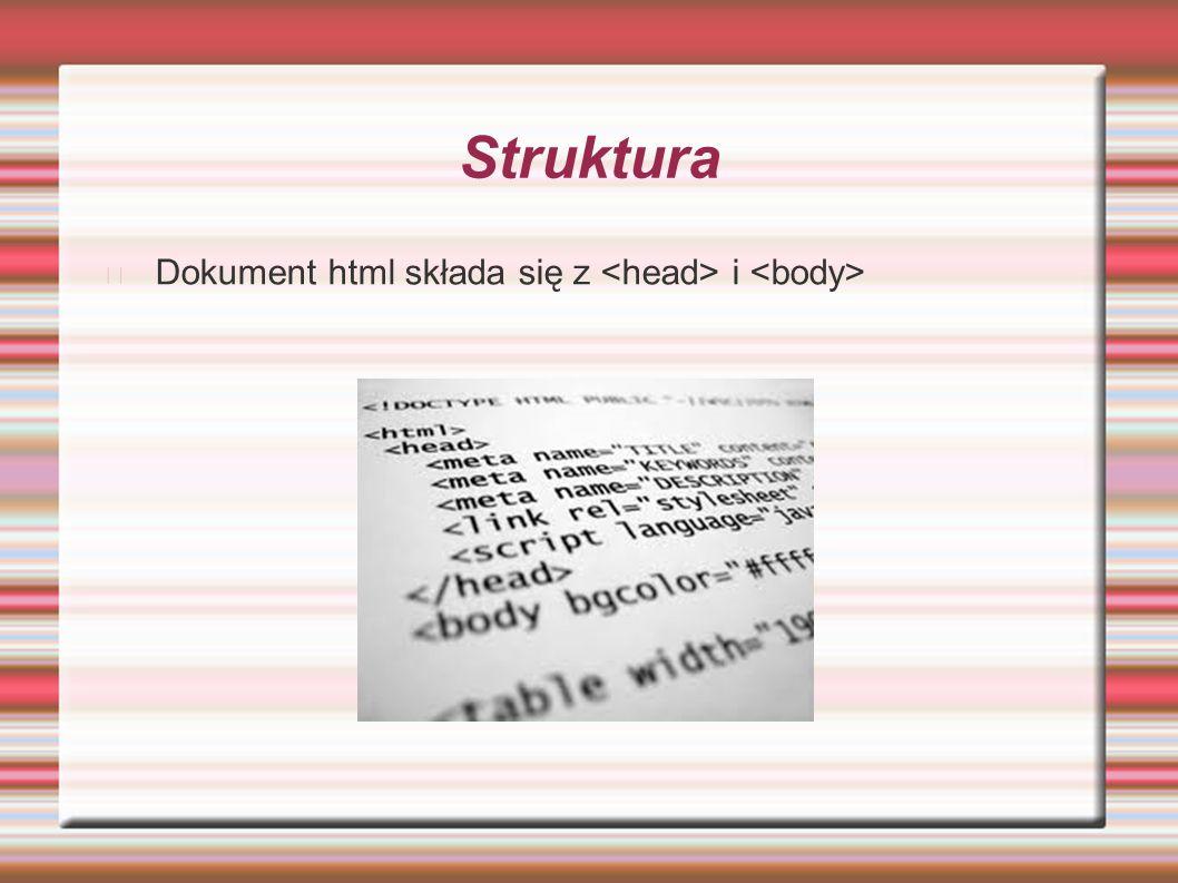 Struktura Dokument html składa się z i