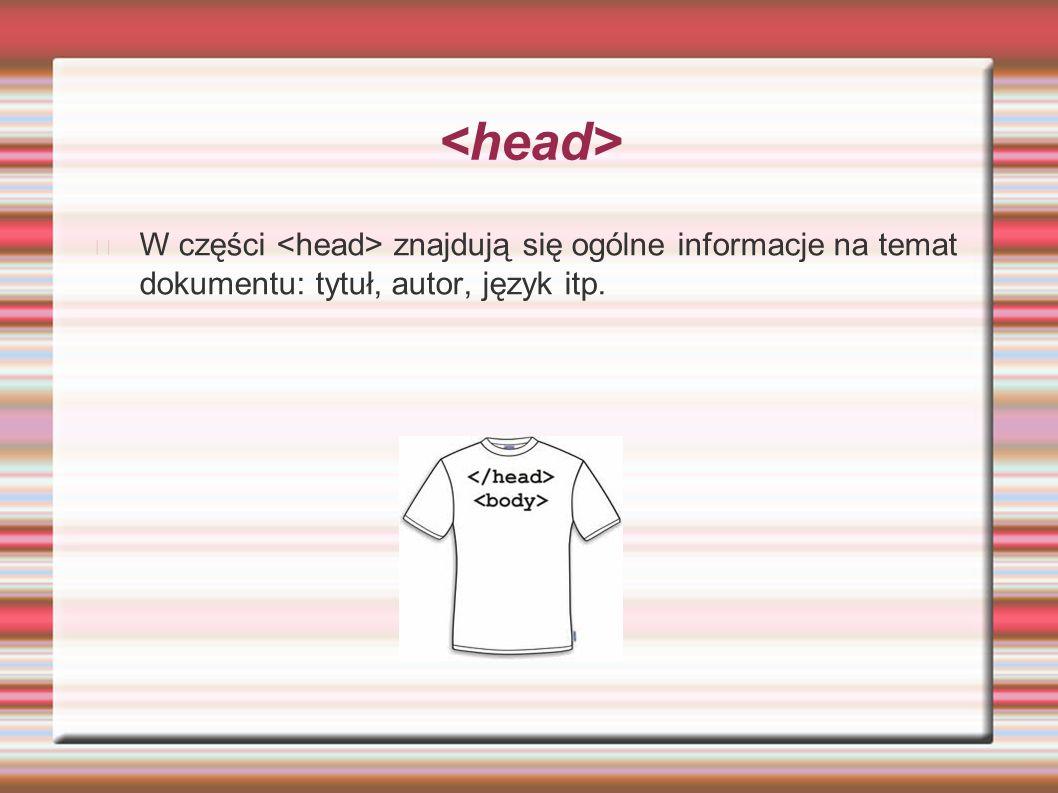 W tej części dokumentu html zawarte są informacje