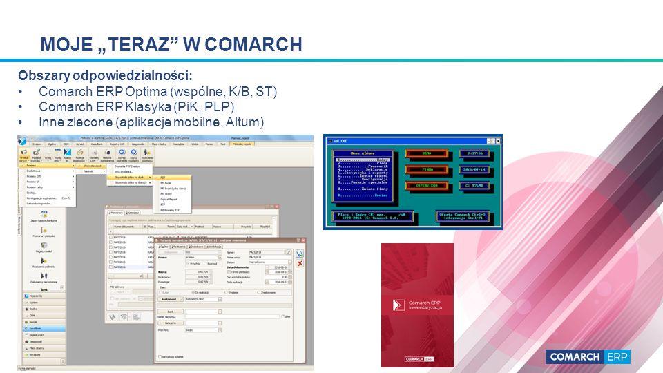 """MOJE """"TERAZ W COMARCH Główne języki programowania i narzędzia: C#, C++ (MS Visual Studio), JS, VBS, T-SQL, Clarion 2,3 for DOS, Clarion 5.5 for Windows, Java (Android Studio)"""