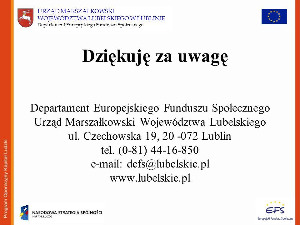 Dziękuję za uwagę Departament Europejskiego Funduszu Społecznego Urząd Marszałkowski Województwa Lubelskiego ul.