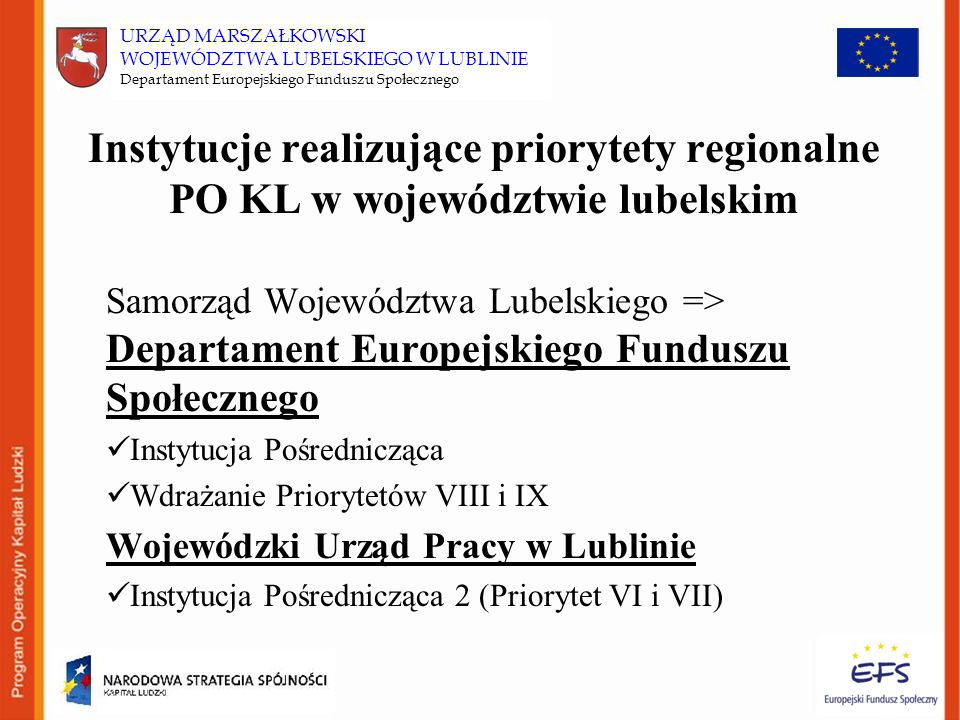 Instytucje realizujące priorytety regionalne PO KL w województwie lubelskim Samorząd Województwa Lubelskiego => Departament Europejskiego Funduszu Społecznego Instytucja Pośrednicząca Wdrażanie Priorytetów VIII i IX Wojewódzki Urząd Pracy w Lublinie Instytucja Pośrednicząca 2 (Priorytet VI i VII) URZĄD MARSZAŁKOWSKI WOJEWÓDZTWA LUBELSKIEGO W LUBLINIE Departament Europejskiego Funduszu Społecznego
