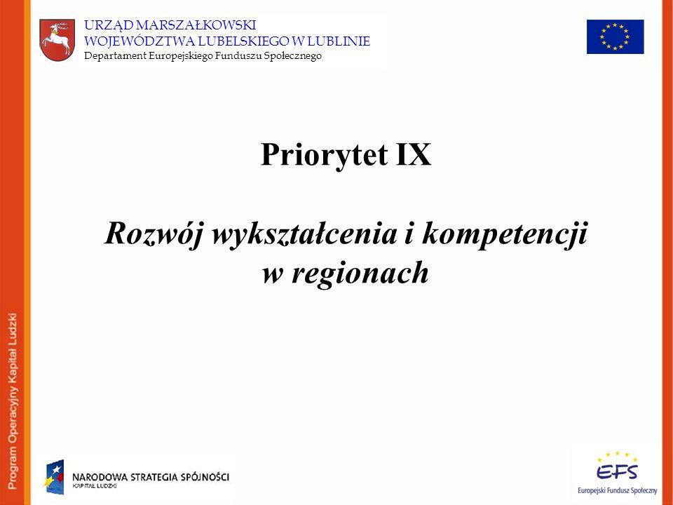 Priorytet IX Rozwój wykształcenia i kompetencji w regionach