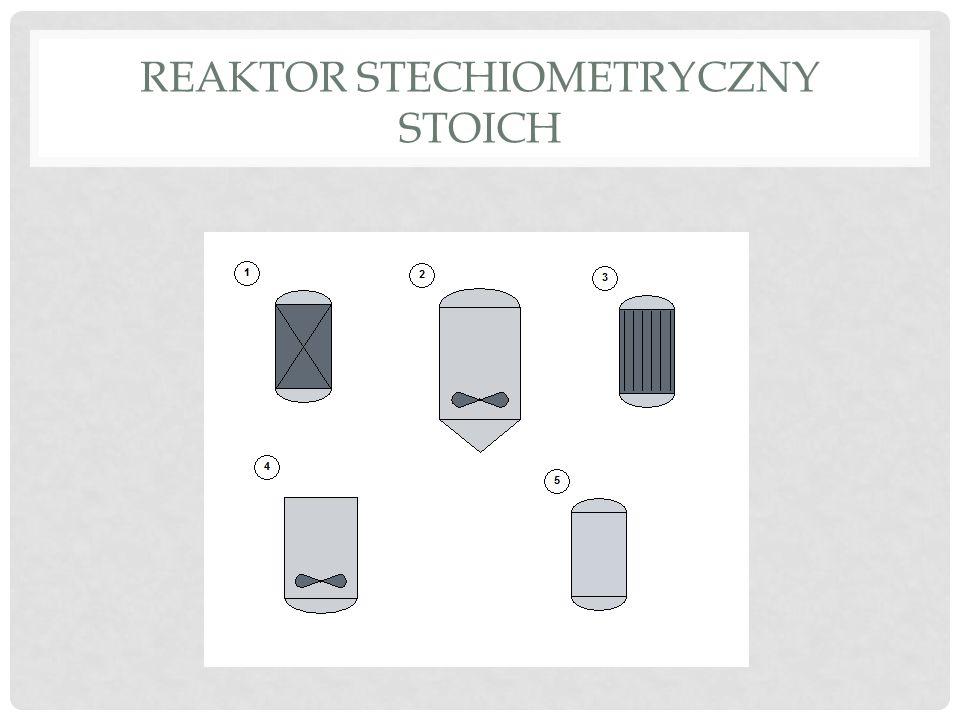 REAKTOR STOICH Reaktor stechiometryczny Zakładamy reakcję według poniższego równania: M i - to symbol reagenta v i - to współczynnik stechiometryczny (ujemny dla substratów, dodatni dla produktów, zero dla inertów) M R substrat i jednocześnie składnik kluczowy.