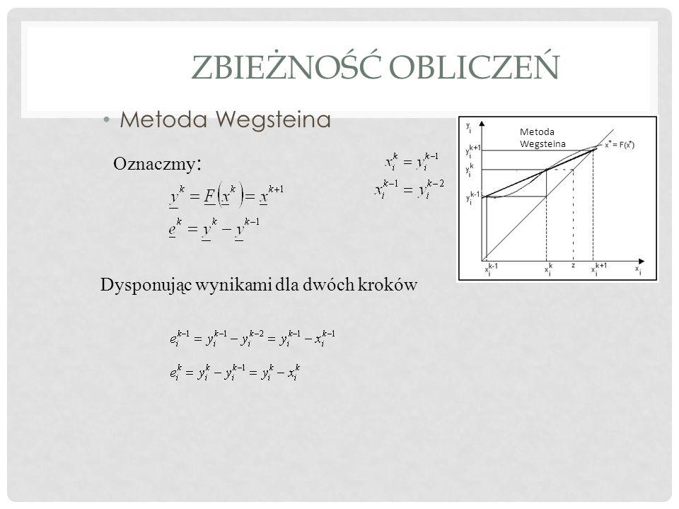 ZBIEŻNOŚĆ OBLICZEŃ Metoda Wegsteina Oznaczmy : Dysponując wynikami dla dwóch kroków Metoda Wegsteina