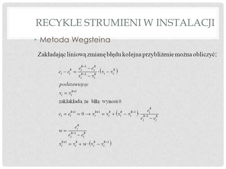 RECYKLE STRUMIENI W INSTALACJI Metoda Wegsteina Zakładając liniową zmianę błędu kolejna przybliżenie można obliczyć :