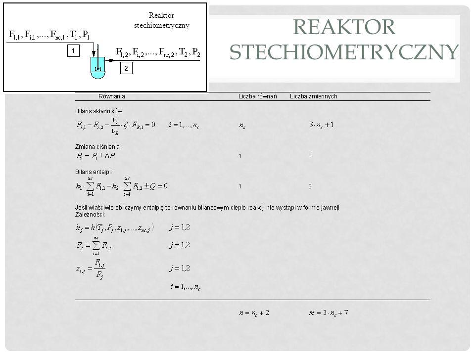 REAKTOR STECHIOMETRYCZNY Reaktor stechiometryczny Liczba stopni swobody: Trzeba podać dane strumienia wlotowego oraz trzy parametry, np.: zmianę ciśnienia (opcjonalnie), zapotrzebowanie ciepła stopień przemiany n c wsp.