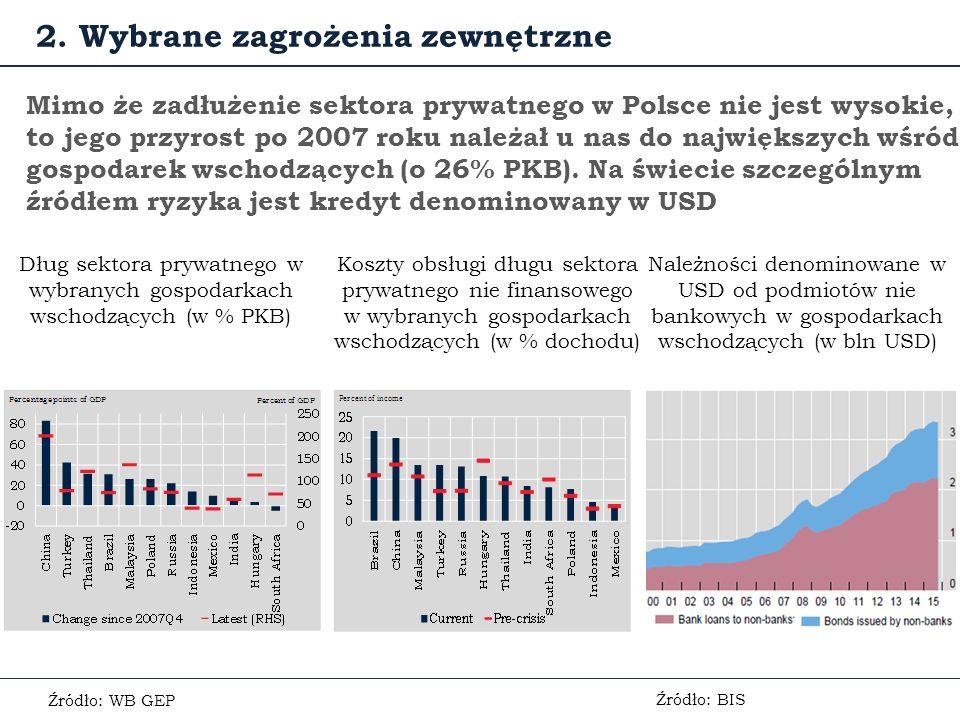 Mimo że zadłużenie sektora prywatnego w Polsce nie jest wysokie, to jego przyrost po 2007 roku należał u nas do największych wśród gospodarek wschodzących (o 26% PKB).