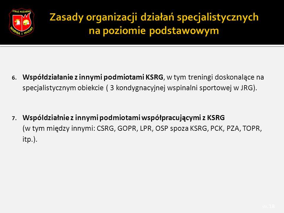 6. Współdziałanie z innymi podmiotami KSRG, w tym treningi doskonalące na specjalistycznym obiekcie ( 3 kondygnacyjnej wspinalni sportowej w JRG). 7.